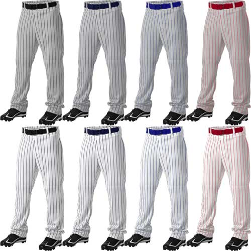 Alleson Athletic Relaxed Fit Open Bottom Pinstripe Baseball Pants