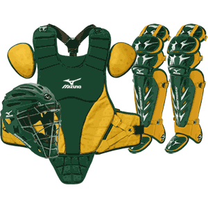 Mizuno Samurai Baseball Catchers Gear Set - Intermediate Green Gold