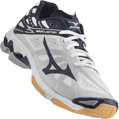 Mizuno Lightning Z Volleyball Shoes - White / Navy Blue