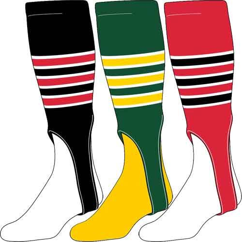 TCK 3-Stripe Outline Baseball Stirrup Socks