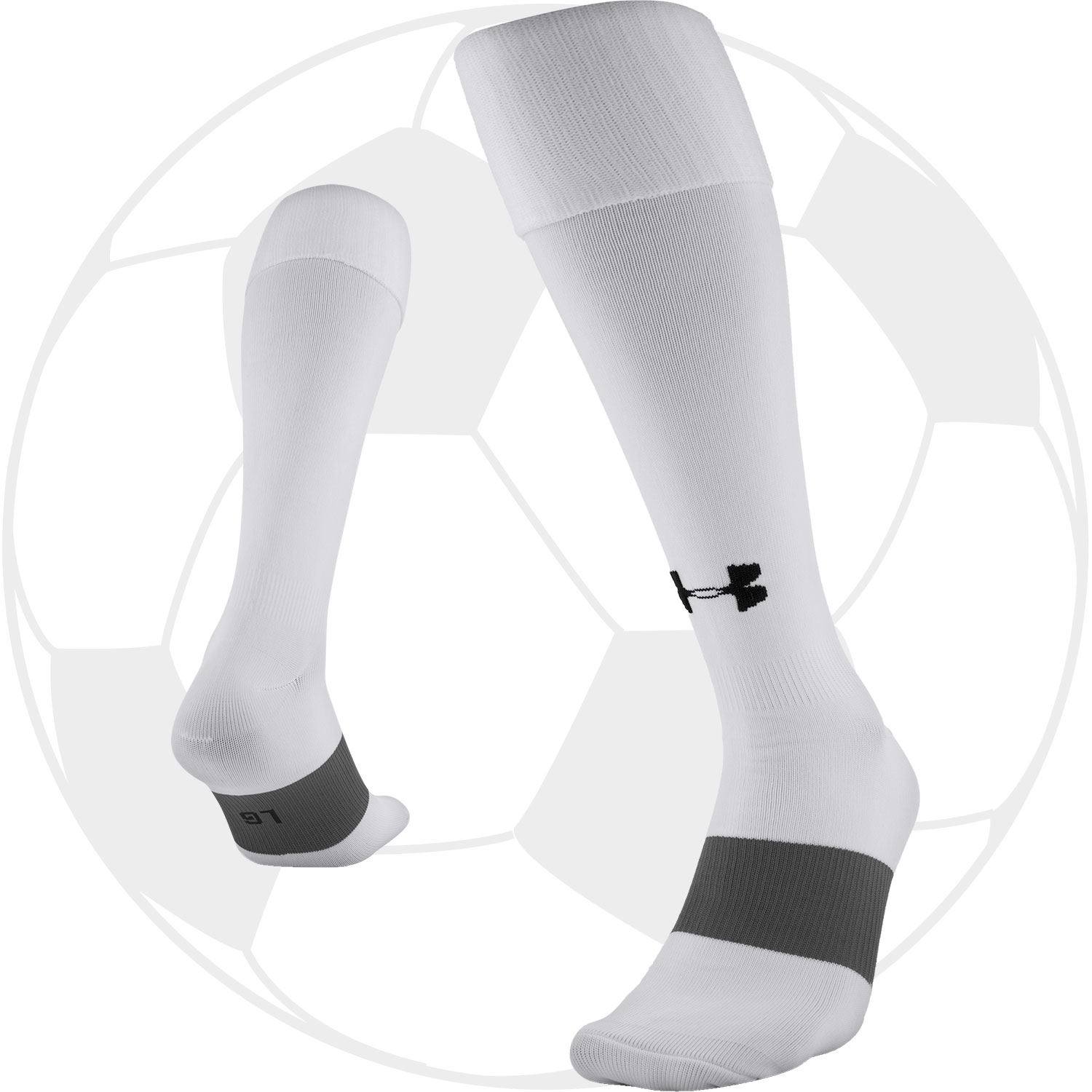 White or Royal 1264790 Under Armour UA Over the Calf Soccer Socks Red Black